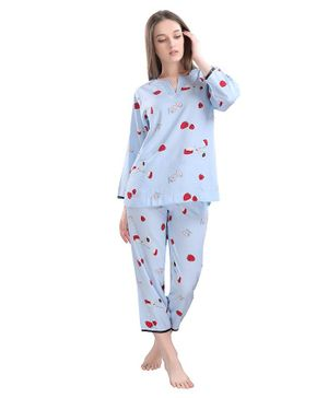 Piu Full Sleeves Strawberry Print Maternity Night Suit - Blue