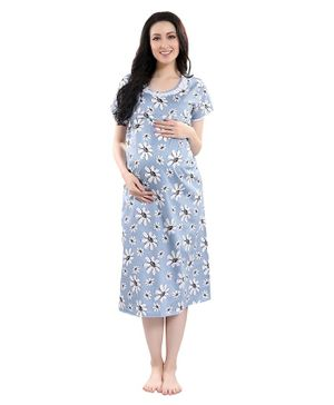 Piu Short Sleeves Floral Print Maternity Nighty - Blue