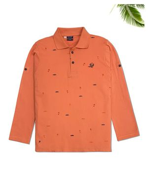 CAVIO Full Sleeves All Over Car Printed Polo T-Shirt - Orange