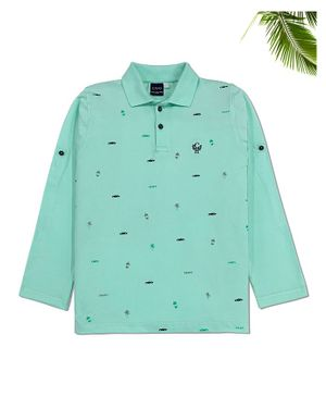 CAVIO Full Sleeves All Over Car Printed Polo T-Shirt - Sea Green