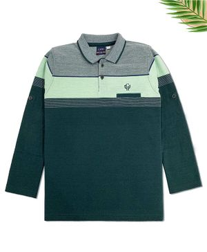 CAVIO Full Sleeves Striped Polo T-Shirt - Green
