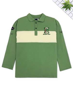 CAVIO Full Sleeves C Letter Patch Polo T-Shirt - Green