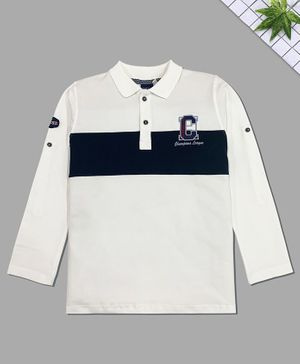 CAVIO Full Sleeves C Letter Patch Polo T-Shirt - White