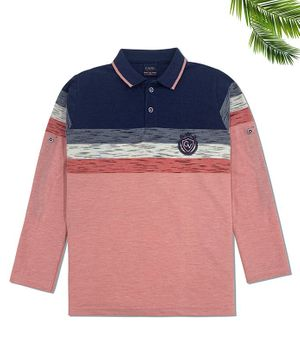 CAVIO Full Sleeves Striped Polo T-Shirt - Pink