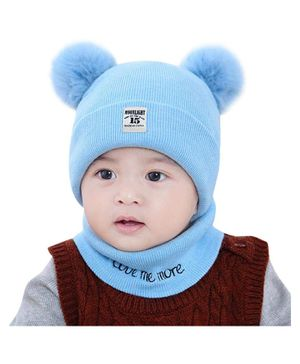 Syga Knitted Pom Pom Cap With Neckwear Blue - Circumference 39 to 43 cm