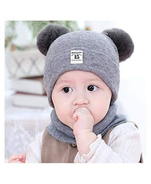 Syga Knitted Pom Pom Cap With Neckwear Grey - Circumference 39 to 43 cm