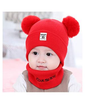 Syga Knitted Pom Pom Cap With Neckwear Red - Circumference 39 to 43 cm