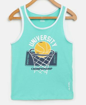 Alcis Sleeveless Basket Ball Printed Tee - Light Blue