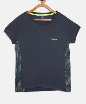 Alcis Half Sleeves Solid Color T-Shirt - Navy Blue