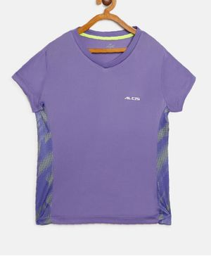 Alcis Half Sleeves Solid Color T-Shirt  - Purple