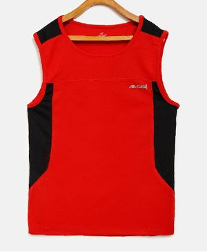 Alcis Sleeveless Color Block Solid Tank - Red