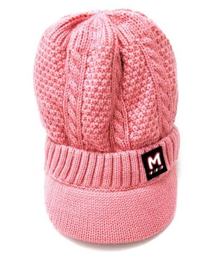 Kid-O-World Cable Knit Woolen Cap - Pink