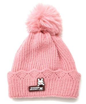 Kid-O-World Knitted Angoora  Pom Pom Cap - Pink