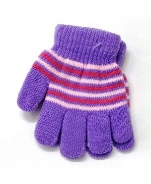 Kid-O-World Striped Gloves - Purple