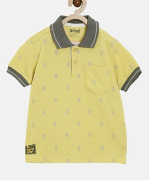 Aomi Half Sleeves Leaves Printed Polo T-Shirt - Yellow
