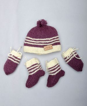 The Original Knit Striped Pattern Booties With Mittens & Cap Circumference - 47 Cms - Burgundy