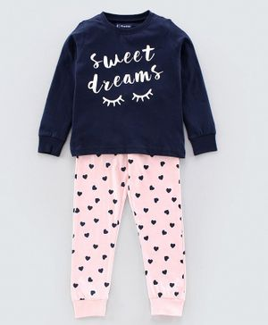 Pine Kids Full Sleeves Biowashed Night Suit Hearts Print - Blue Cream