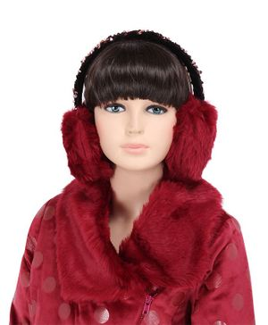 Cutecumber Fur Sequined Ear Muff - Maroon