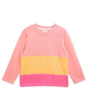 Cherry Crumble By Nitt Hyman Full Sleeves Colour Block Pattern Top - Pink & Yellow
