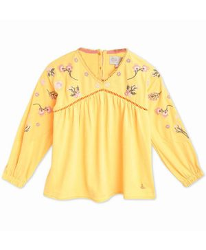 Cherry Crumble By Nitt Hyman Full Sleeves Flower Embroidery Detailing Top - Yellow