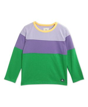 Cherry Crumble By Nitt Hyman Full Sleeves Tri Color Block T-Shirt - Multicolor