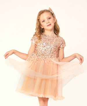 Cherry Crumble By Nitt Hyman Sleeveless Sequined Fit & Flare Net Dress With Clips - Peach