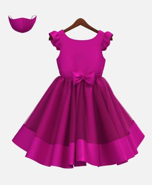 HEYKIDOO Cap Sleeves Bow Applique Flared Dress With Matching Face Mask - Dark Pink