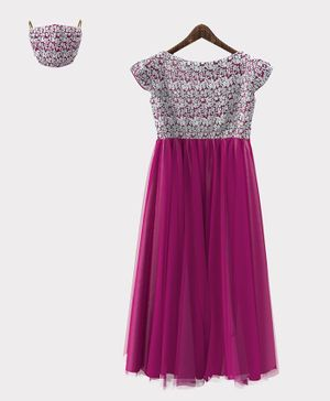 HEYKIDOO Cap Sleeves Flower Embroidery Detailing Gown With Matching Face Mask - Dark Pink