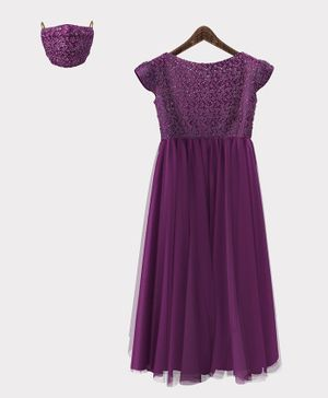 HEYKIDOO Cap Sleeves Flower Embroidery Detailing Gown With Matching Face Mask - Violet