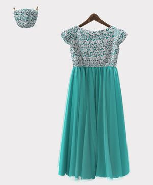 HEYKIDOO Cap Sleeves Flower Embroidery Detailing Gown With Matching Face Mask - Sea Green