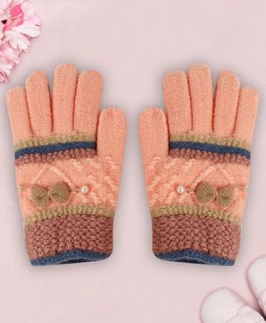 Coco Candy Bow  Hand Gloves - Peach