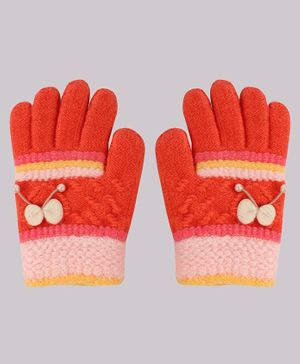 Coco Candy Bow  Hand Gloves - Light Red