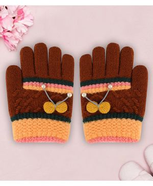 Coco Candy Bow  Hand Gloves  - Brown
