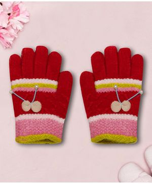 Coco Candy Bow  Hand Gloves - Mahroon'