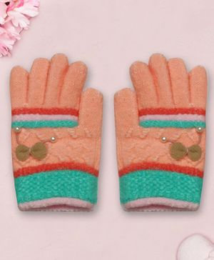 Coco Candy Bow  Hand Gloves  - Peach & Green