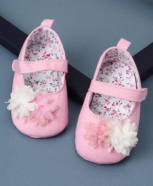 KIDLINGSS Flower Applique Velcro Closure Booties - Pink