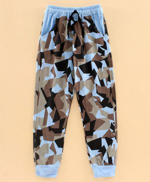 DEAR TO DAD Full Length Abstract Print Joggers - Blue