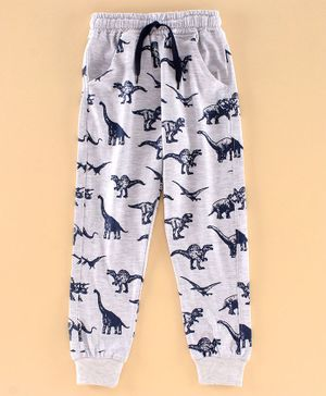 DEAR TO DAD Full Length Dinosaur Printed Joggers - Grey