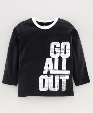 DEAR TO DAD Full Sleeves Text Printed T-Shirt - Black