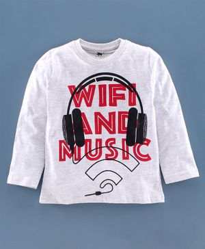 DEAR TO DAD Full Sleeve Headphones Printed T-Shirt - Light Grey