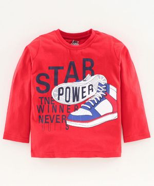 DEAR TO DAD Full Sleeves Shoes Printed T-Shirt - Red