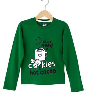 The Talking Canvas Full Sleeves Cookies And Hot Cocoa Print Christmas T-Shirt - Green