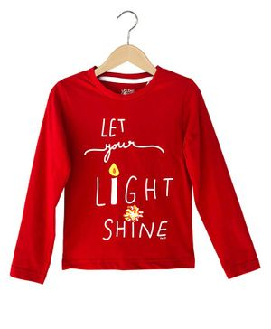 The Talking Canvas Full Sleeves Let Your Light Shine Print Christmas Full T-Shirt - Red