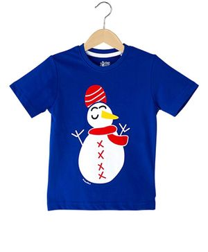 The Talking Canvas Half Sleeves Indian Snowman Print Christmas T-Shirt - Blue
