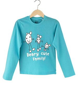 The Talking Canvas Full Sleeves Beary Cute Family T-Shirt - Blue