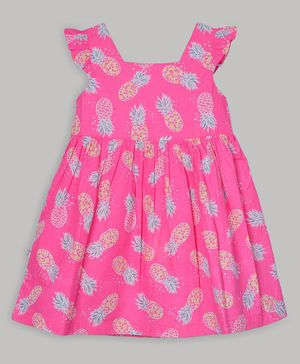 Baby Cloud Sleeveless Pineapple Printed Dress - Pink