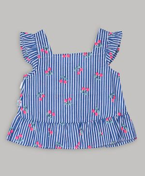 Baby Cloud Short Sleeves Cherry Printed Striped Top - Blue