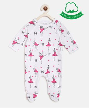 berrytree Organic Cotton Full Sleeves Ballerina Print  Romper - Pink