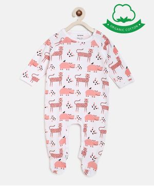 berrytree Organic Cotton Full Sleeves Pink Panther Print Romper - Pink