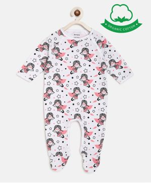 berrytree Organic Cotton Full Sleeves Super Girl Print Romper  - Pink